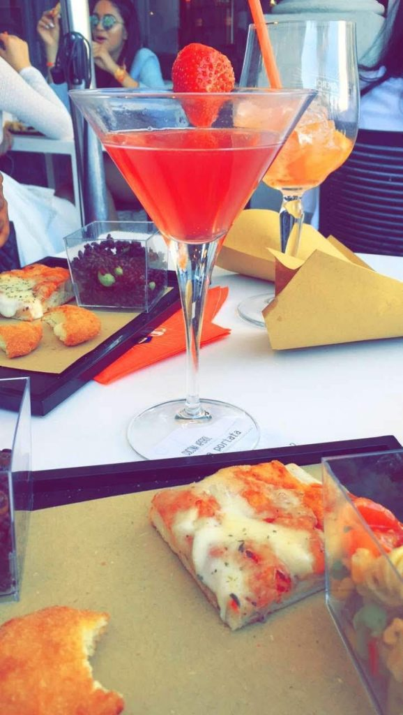 Aperol spritz and tuck into a few canapes.